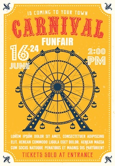 Carnival, funfair colored poster in flat style with ferris wheel from amusement parks