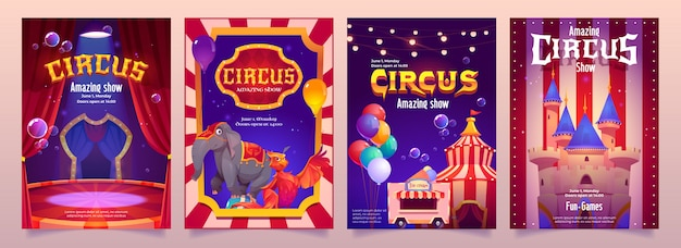 Carnival funfair flyers with circus tent