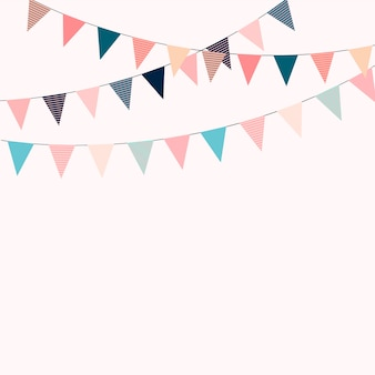 Carnival garland with flags. decorative colorful party pennants for birthday celebration, festival and fair decoration.