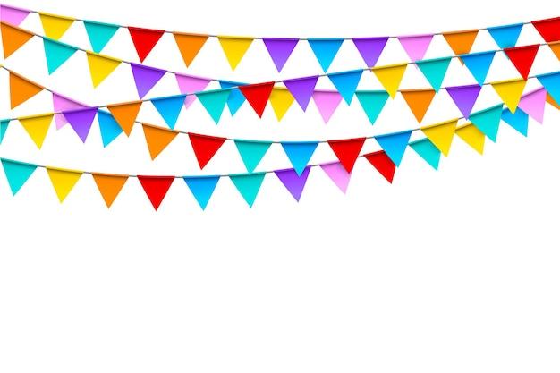 白のリアルなスタイルのカラフルな旗のお祭りテンプレートとカーニバルの花輪