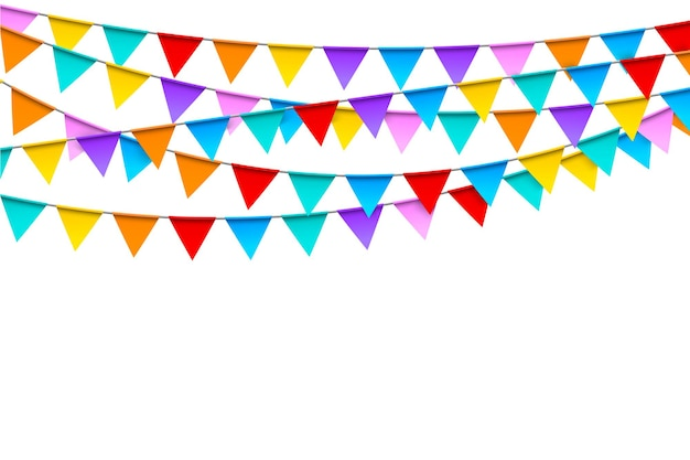 Carnival garlands with colorful flags festive template in realistic style on white