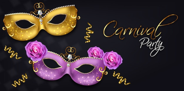 Carnival golden and purple mask