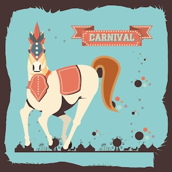 Carnival horse vintage icon vector illustration design