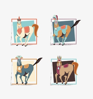 Carnival horses vintage icon vector illustration design