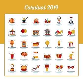 Carnival icon set with outline filled style