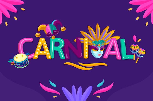 Carnival lettering with masks and flowers