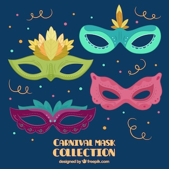 Carnival mask collection in different colors