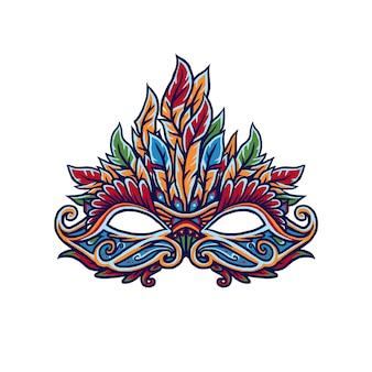 カーニバルマスク、デジタル色の手描きの線。