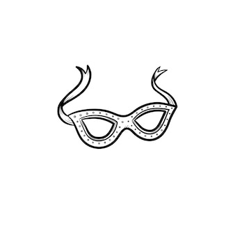 Carnival mask hand drawn outline doodle icon. eyes accessory for carnival vector sketch illustration for print, web, mobile and infographics isolated on white background.