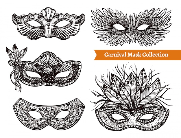 Carnival mask hand drawn set