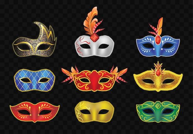 Карнавальная маска - реалистичный современный векторный набор различных старинных предметов одежды. черный фон. качественный клип-арт для фестиваля, вечеринки, ярмарки, презентации, баннера, флаера, приглашения.