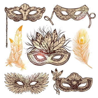 Carnival mask sketch set