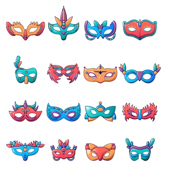 Carnival mask venetian icons set