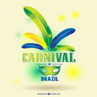 Carnival mask with brazilian colors