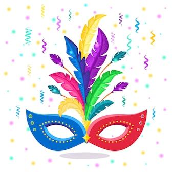 羽付きカーニバルマスク。パーティー用のコスチュームアクセサリー。マルディグラ、ヴェネツィアのお祭りのコンセプト
