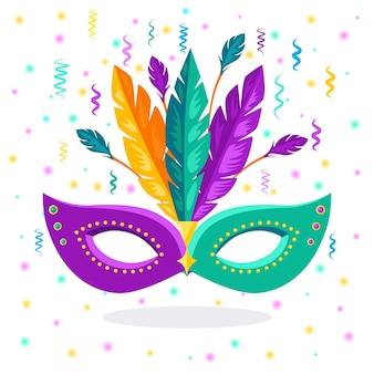 Carnival mask with feathers  costume accessories for parties. mardi gras, venice festival concept.