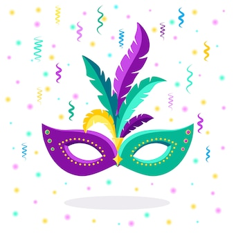 Carnival mask with feathers isolated on white background. Premium Vector