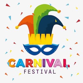 Carnival mask with joker hat decoration to festival celebration