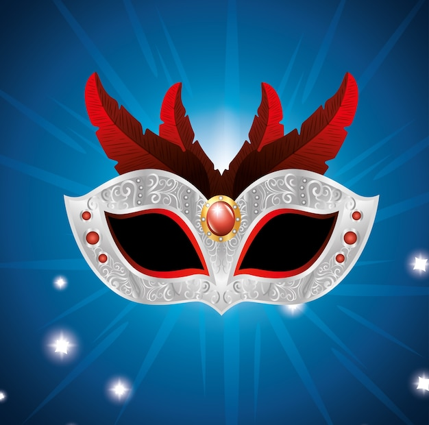 Carnival mask with red feathers lights blue background