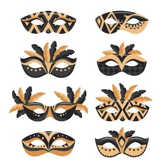 Коллекция карнавальных масок в плоском стиле с золотым и черным цветами