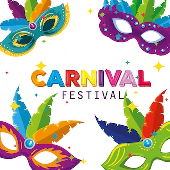 Carnival masks with feathers decoration to party celebration