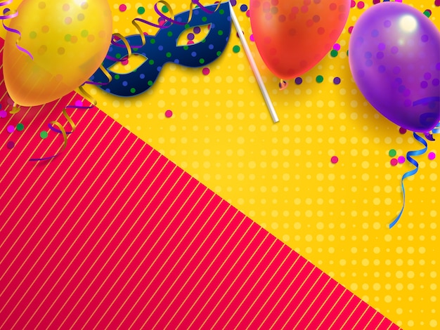 Carnival masquerade festive background, kids birthday party with confetti, carnival mask and balloon