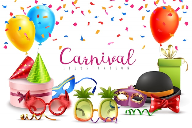 Carnival masquerade party hats balloons confetti funny colored and shaped glasses