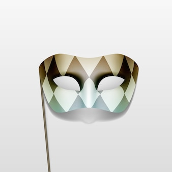 Carnival masquerade party mask on a stick  background Premium Vector