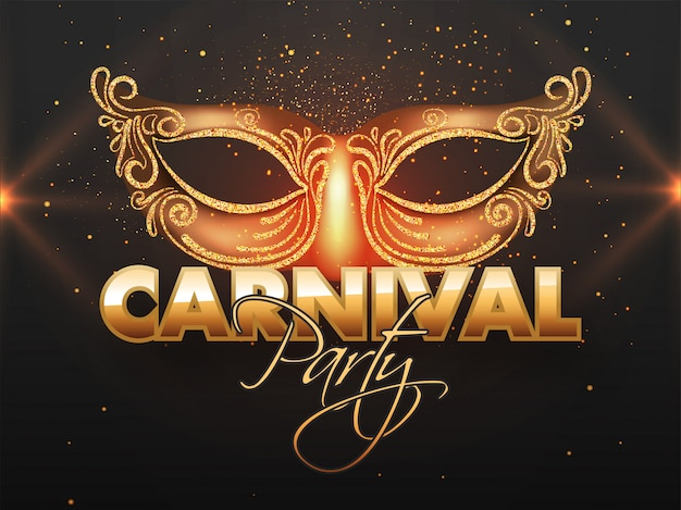 Carnival party banner  with glittering mask.