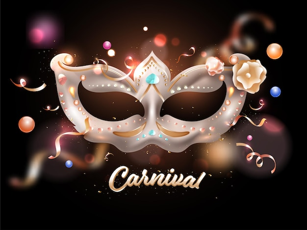 Carnival party celebration background with realistic glossy mask illustration