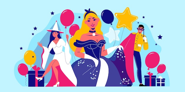 Carnival party composition with human characters in partysuits with icons of balloons gift boxes and stars illustration