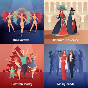 Carnival party concept icons set