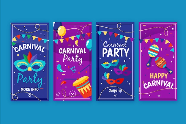 Carnival party concept for instagram stories collection