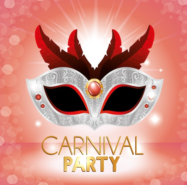 Carnival party cute mask red feathers pink bright background