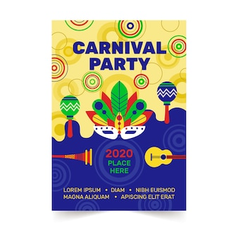 Carnival party flyer in flat design