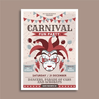 Carnival party flyer hand drawn design