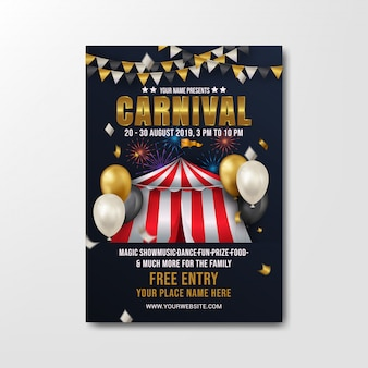 Carnival party flyer template modern design