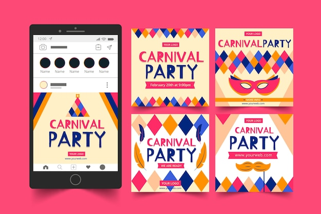 Carnival party instagram posts concept