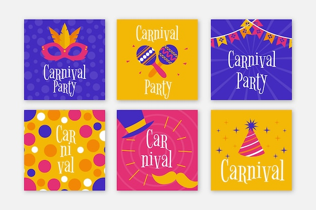 Carnival party instagram posts set