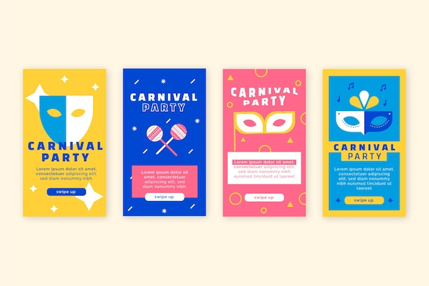 Carnival party instagram stories set