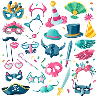 Carnival party inventory set. large set of  carnival items on white background in illustrative cartoon style