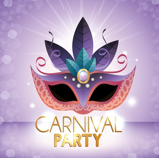 Carnival party mask purple bright background