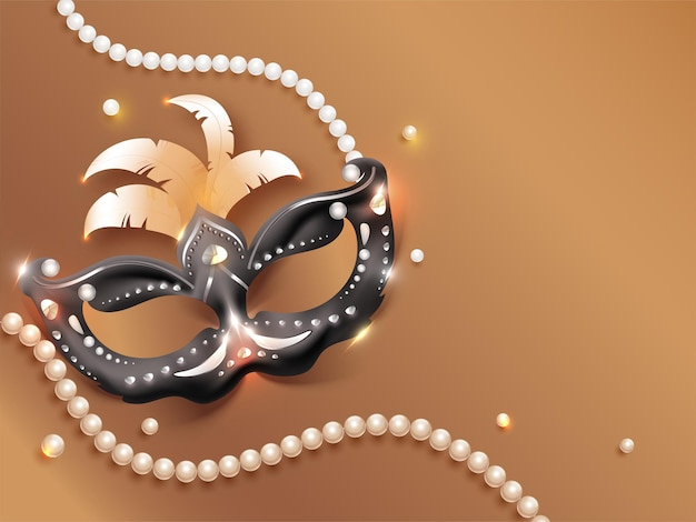 Carnival party mask with light effect and pearl garland on bronze background