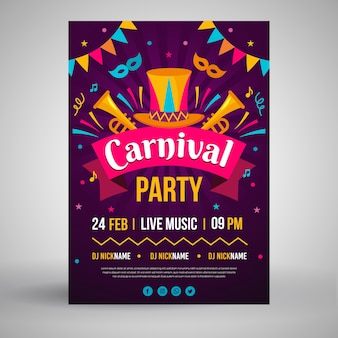 Carnival party poster in flat design