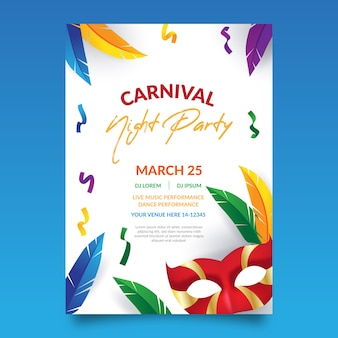 Carnival party poster with colourful feathers