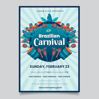 Carnival party poster with music instruments