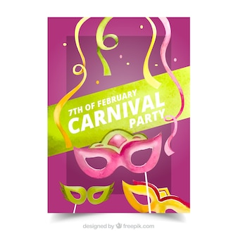 Carnival party poster with watercolor masks