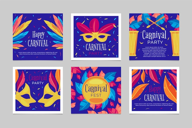 Carnival party posts pack