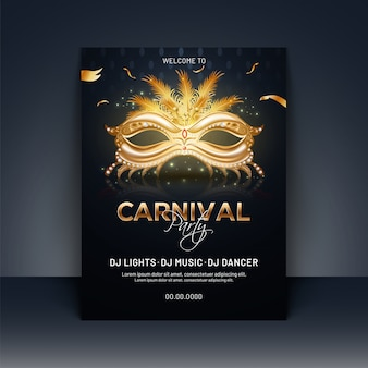Carnival party template or invitation card design with realistic