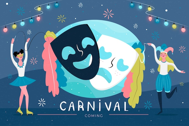 Карнавальная вечеринка с театральными масками и танцующими людьми